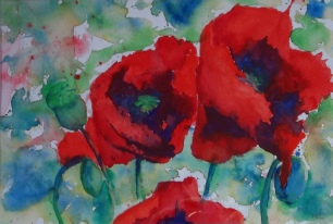 Poppies, Watercolour, Image Size 32 x 22cm SOLD