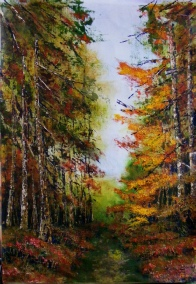 Autumn Walk, Acrylic on canvas on board, Size 61 x 45cm