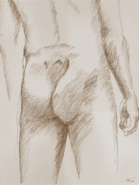 Philip, Rear View, Conté on paper